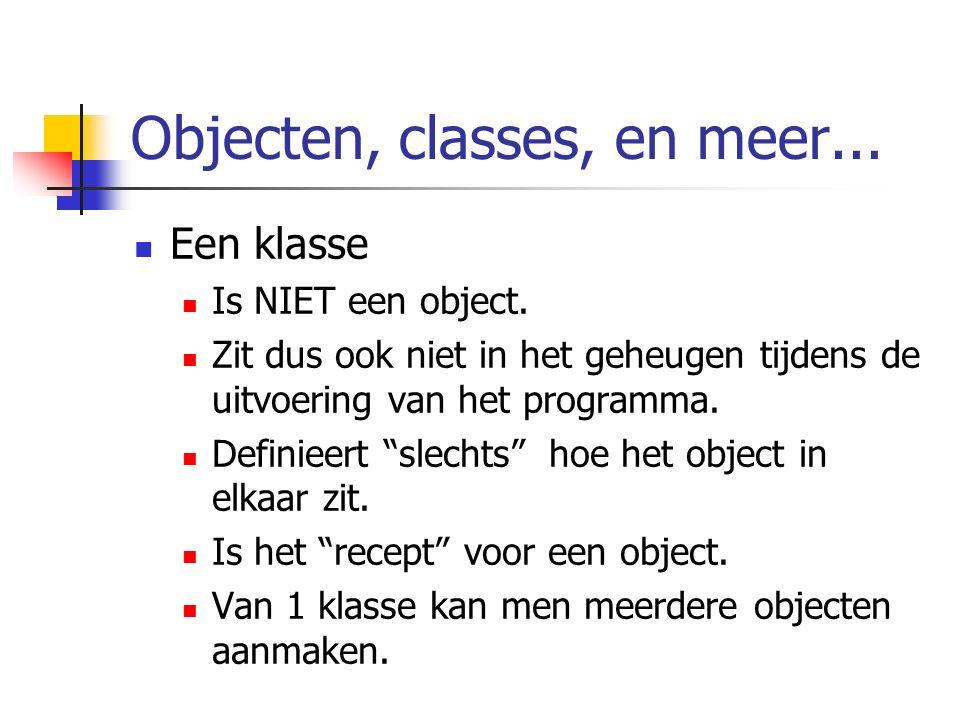 """Objecten, classes, en meer... Een klasse Is NIET een object. Zit dus ook niet in het geheugen tijdens de uitvoering van het programma. Definieert """"sle"""