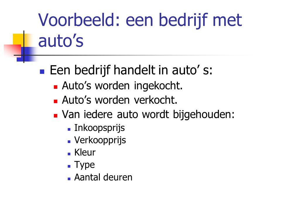 Voorbeeld: een bedrijf met auto's Een bedrijf handelt in auto' s: Auto's worden ingekocht. Auto's worden verkocht. Van iedere auto wordt bijgehouden: