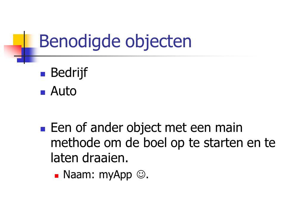Benodigde objecten Bedrijf Auto Een of ander object met een main methode om de boel op te starten en te laten draaien. Naam: myApp.