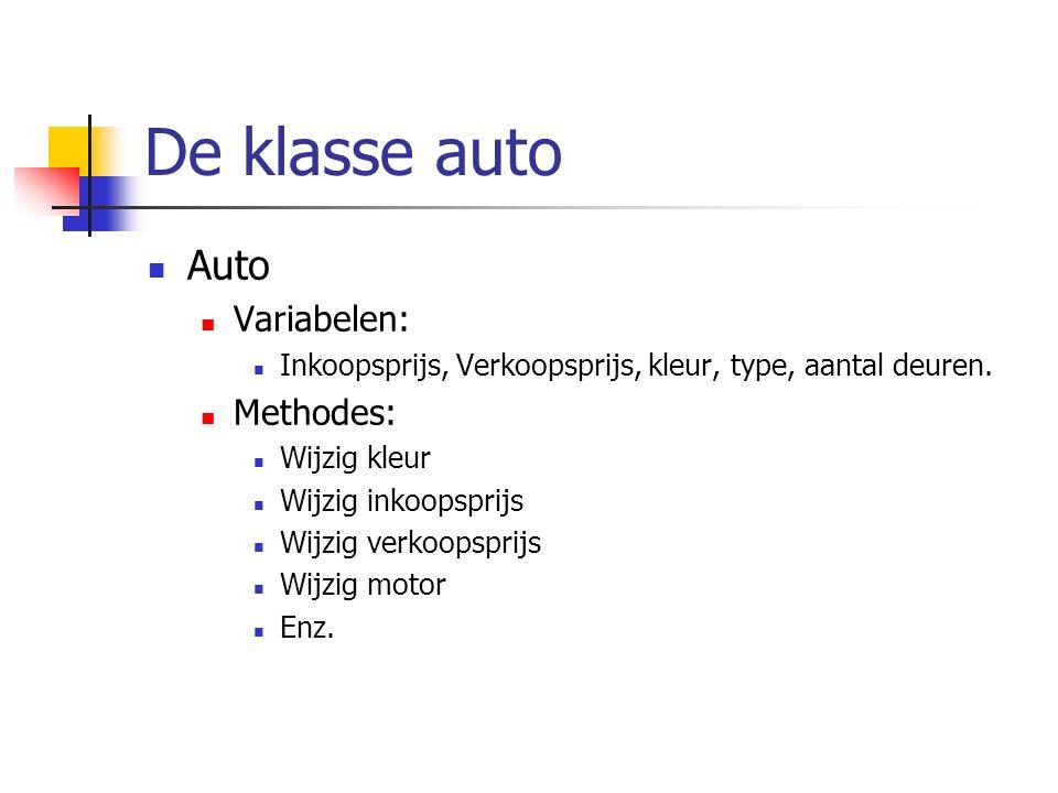 De klasse auto Auto Variabelen: Inkoopsprijs, Verkoopsprijs, kleur, type, aantal deuren. Methodes: Wijzig kleur Wijzig inkoopsprijs Wijzig verkoopspri