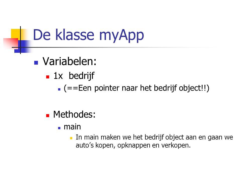 De klasse myApp Variabelen: 1x bedrijf (==Een pointer naar het bedrijf object!!) Methodes: main In main maken we het bedrijf object aan en gaan we aut