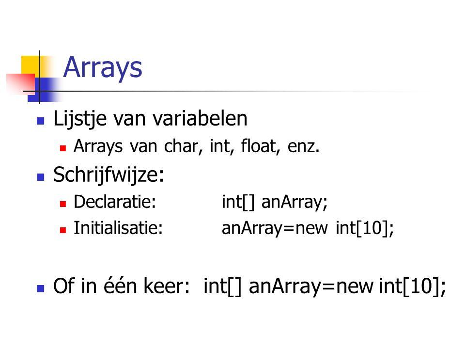 Arrays Lijstje van variabelen Arrays van char, int, float, enz. Schrijfwijze: Declaratie: int[] anArray; Initialisatie: anArray=new int[10]; Of in één