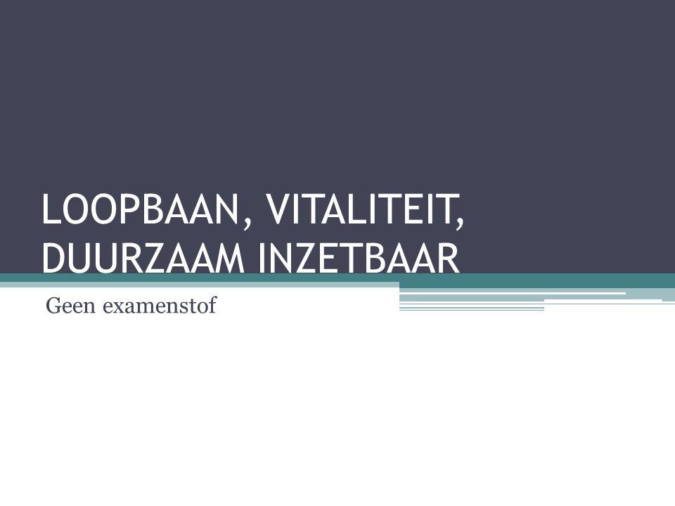 LOOPBAAN, VITALITEIT, DUURZAAM INZETBAAR Geen examenstof