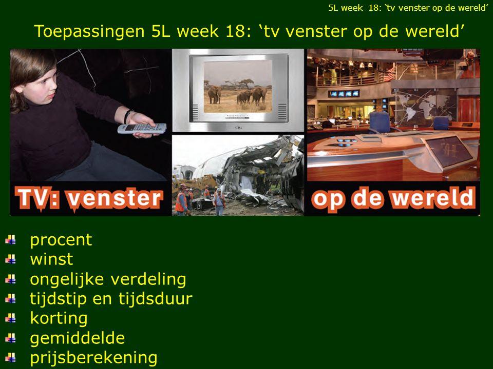 Toepassingen 5L week 18: 'tv venster op de wereld' procent winst ongelijke verdeling tijdstip en tijdsduur korting gemiddelde prijsberekening 5L week 18: 'tv venster op de wereld'
