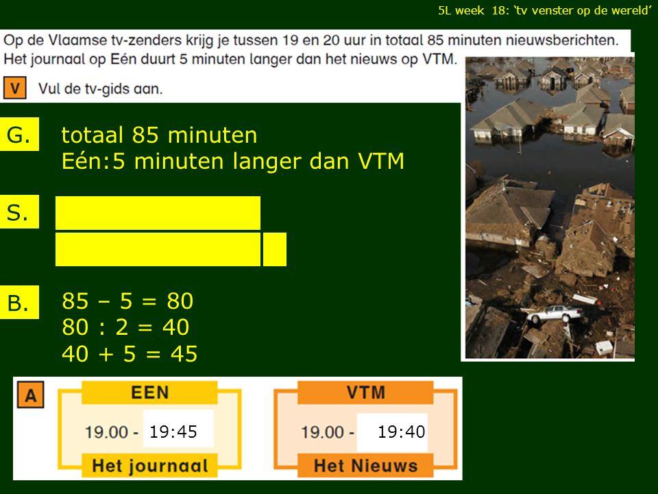 5L week 18: 'tv venster op de wereld' totaal 85 minuten Eén:5 minuten langer dan VTM G.