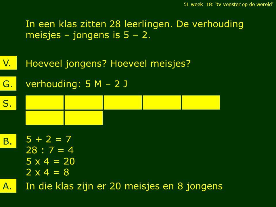 V. In een klas zitten 28 leerlingen. De verhouding meisjes – jongens is 5 – 2.
