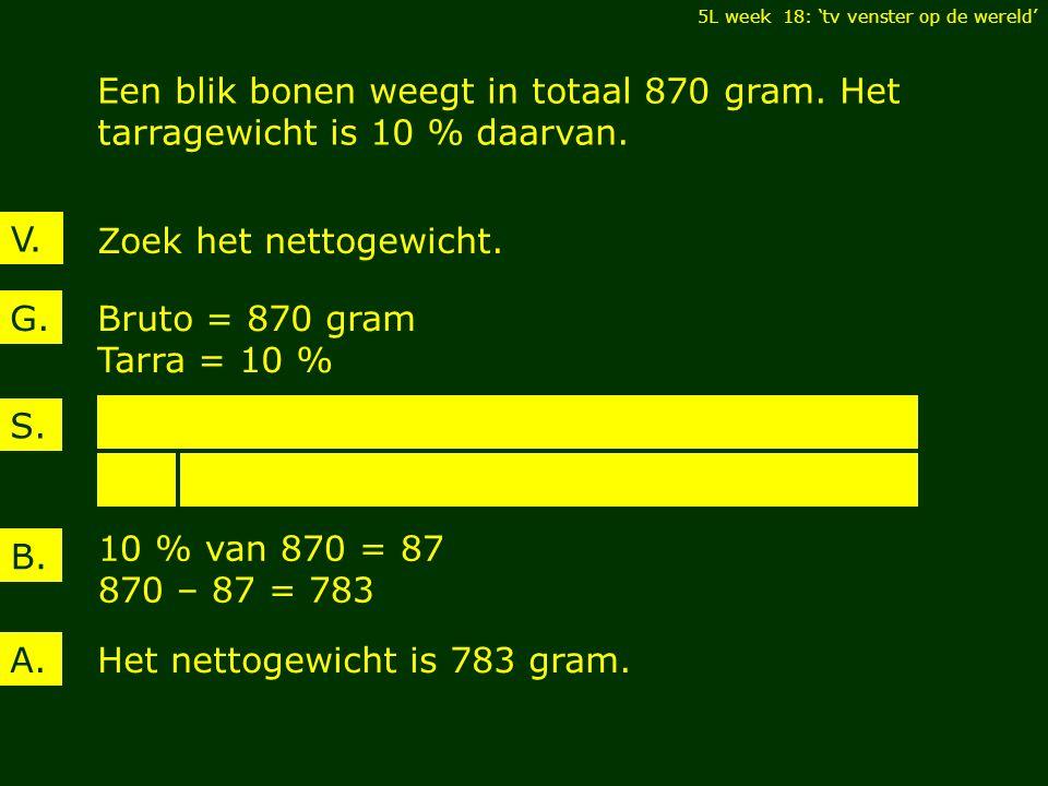 V. Een blik bonen weegt in totaal 870 gram. Het tarragewicht is 10 % daarvan.