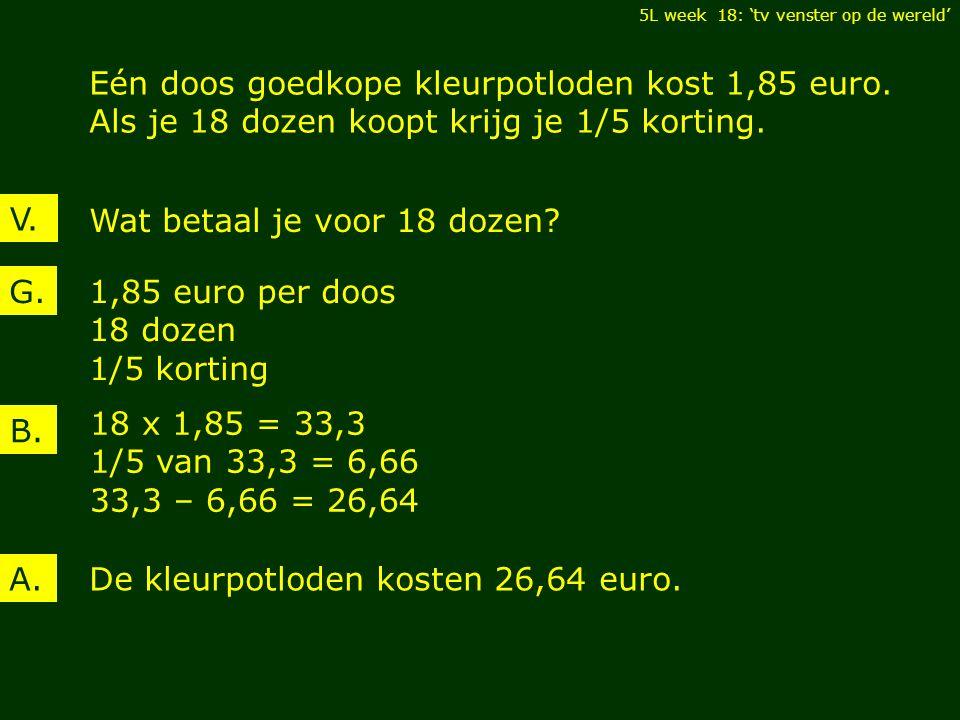 V. Eén doos goedkope kleurpotloden kost 1,85 euro.