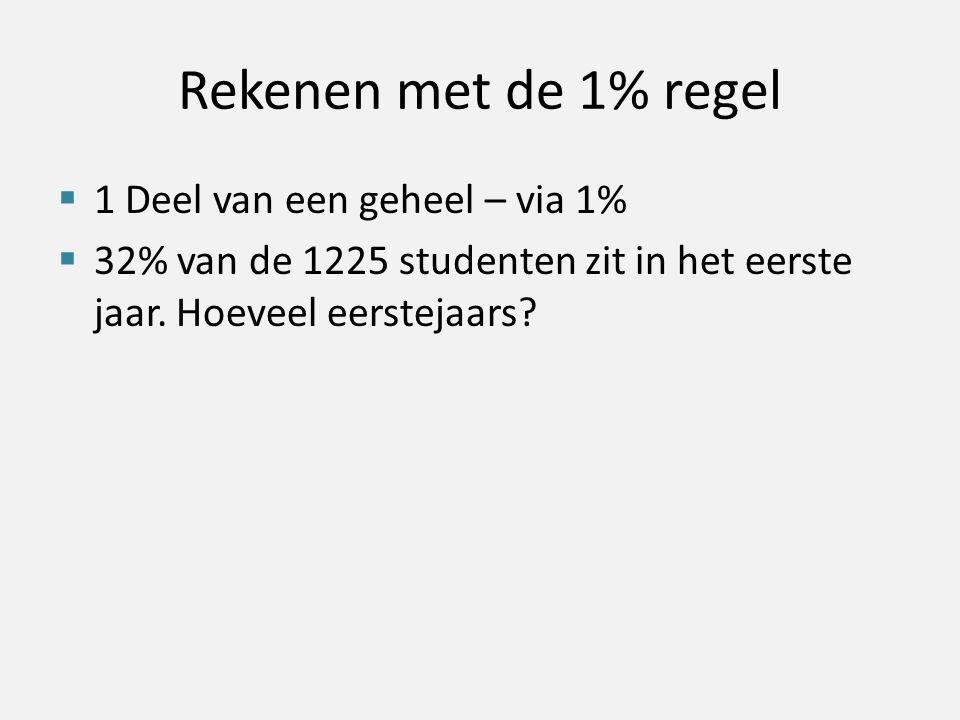 Rekenen met de 1% regel  1 Deel van een geheel – via 1%  32% van de 1225 studenten zit in het eerste jaar. Hoeveel eerstejaars?