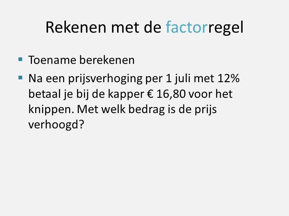 Rekenen met de factorregel  Toename berekenen  Na een prijsverhoging per 1 juli met 12% betaal je bij de kapper € 16,80 voor het knippen. Met welk b