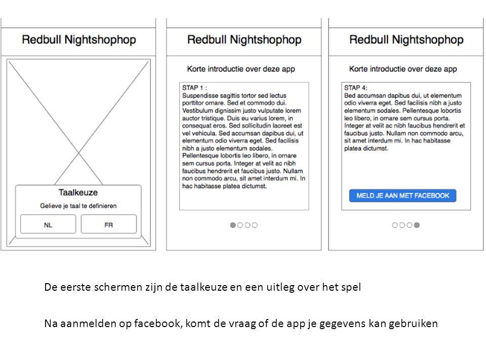 De eerste schermen zijn de taalkeuze en een uitleg over het spel Na aanmelden op facebook, komt de vraag of de app je gegevens kan gebruiken