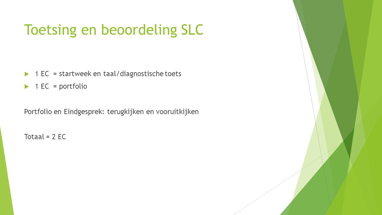 Toetsing en beoordeling SLC  1 EC = startweek en taal/diagnostische toets  1 EC = portfolio Portfolio en Eindgesprek: terugkijken en vooruitkijken T