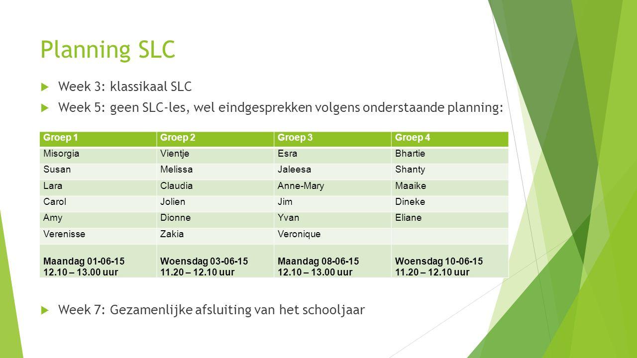 Planning SLC  Week 3: klassikaal SLC  Week 5: geen SLC-les, wel eindgesprekken volgens onderstaande planning:  Week 7: Gezamenlijke afsluiting van