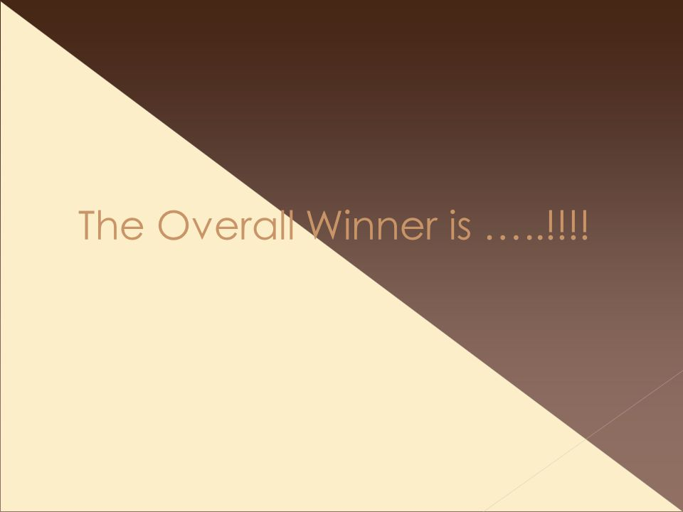 The Overall Winner is …..!!!!