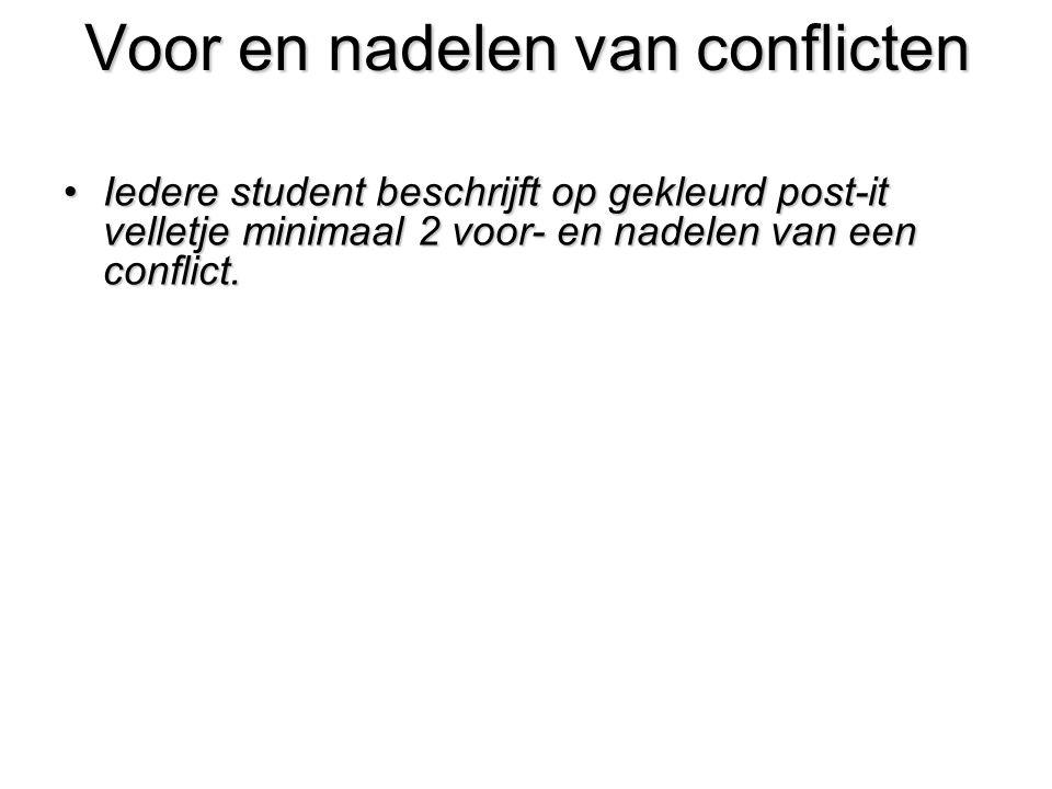 Voor en nadelen van conflicten Iedere student beschrijft op gekleurd post-it velletje minimaal 2 voor- en nadelen van een conflict.Iedere student besc