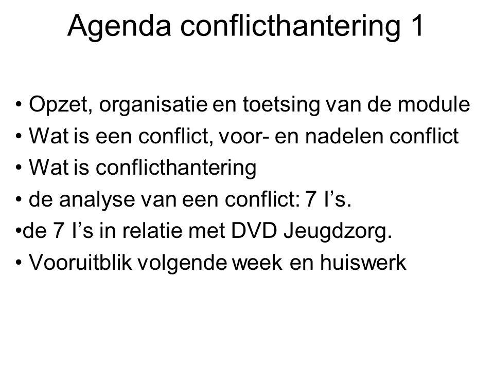 Agenda conflicthantering 1 Opzet, organisatie en toetsing van de module Wat is een conflict, voor- en nadelen conflict Wat is conflicthantering de ana