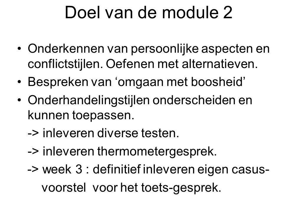 Doel van de module 2 Onderkennen van persoonlijke aspecten en conflictstijlen. Oefenen met alternatieven. Bespreken van 'omgaan met boosheid' Onderhan