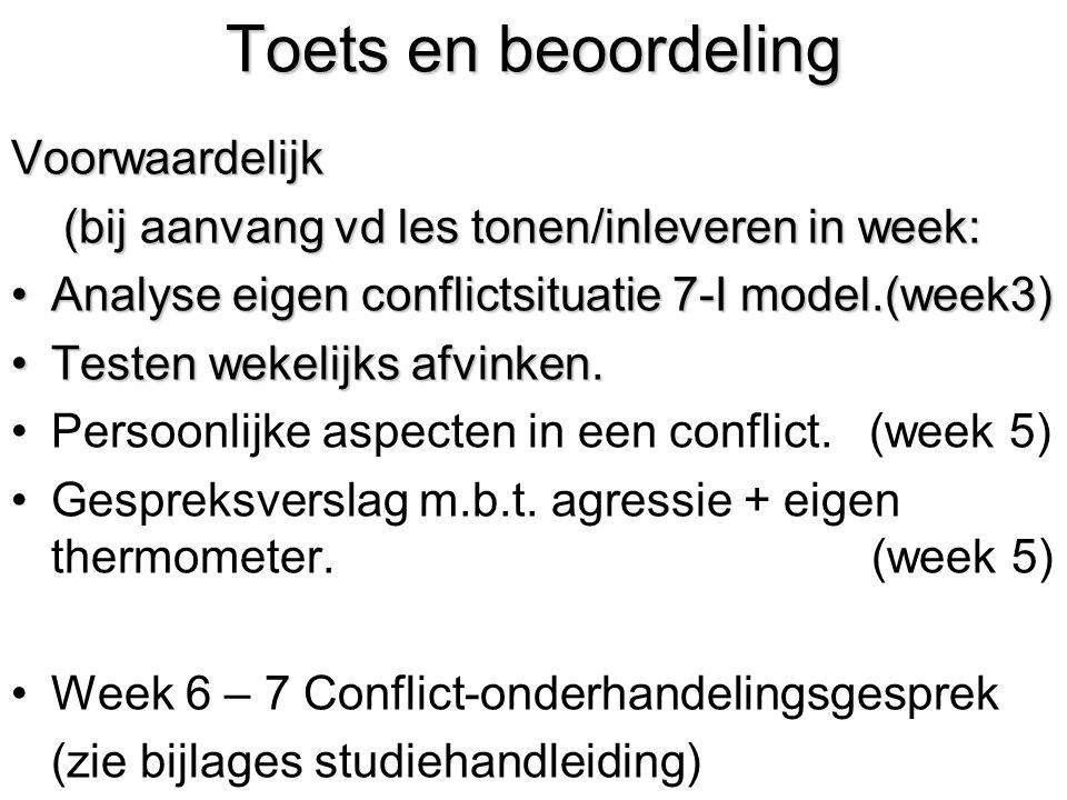 Toets en beoordeling Voorwaardelijk (bij aanvang vd les tonen/inleveren in week: (bij aanvang vd les tonen/inleveren in week: Analyse eigen conflictsi