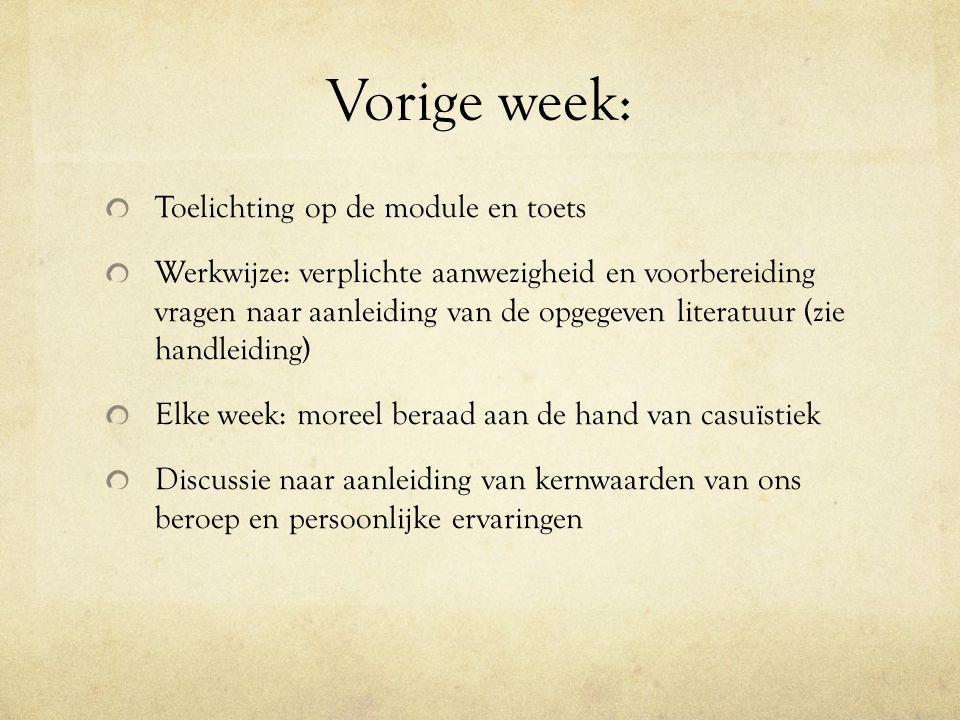 Vorige week: Toelichting op de module en toets Werkwijze: verplichte aanwezigheid en voorbereiding vragen naar aanleiding van de opgegeven literatuur