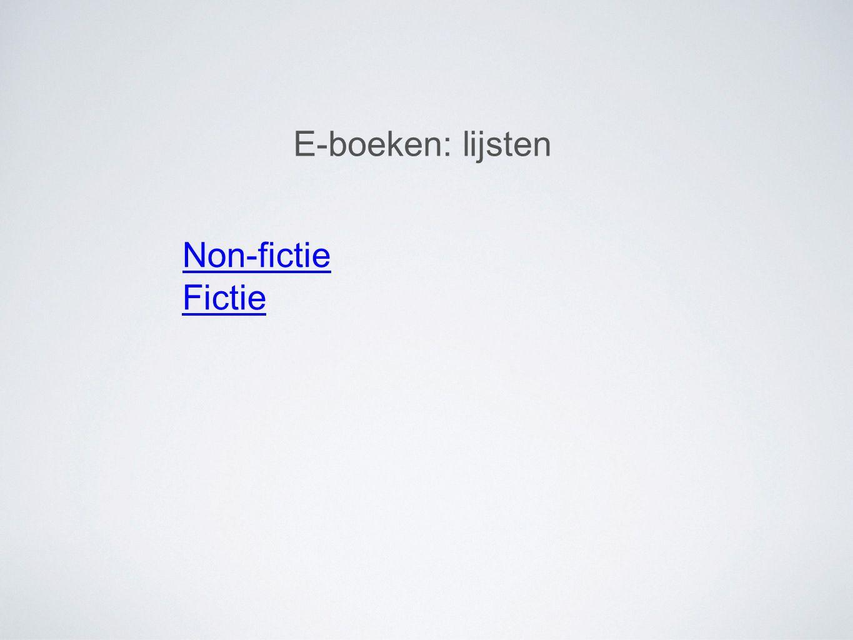 E-boeken: lijsten Non-fictie Fictie