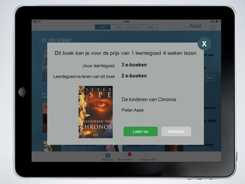 Abel (3) X X De kinderen van Chronos Pieter Aspe Dit boek kan je voor de prijs van 1 leentegoed 4 weken lezen Leen nu Annuleer Jouw leentegoed Leentegoed na lenen van dit boek 3 e-boeken 2 e-boeken