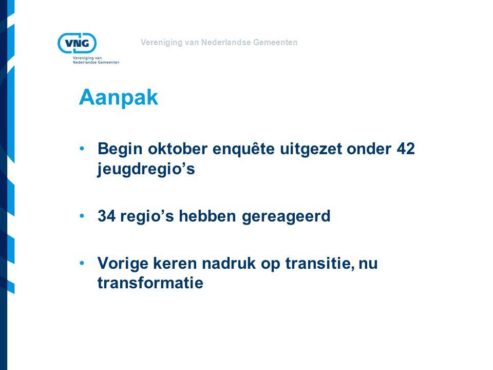 Vereniging van Nederlandse Gemeenten Aanpak Begin oktober enquête uitgezet onder 42 jeugdregio's 34 regio's hebben gereageerd Vorige keren nadruk op transitie, nu transformatie