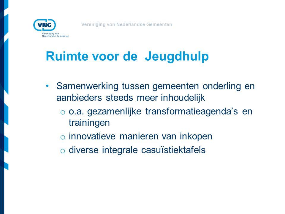 Vereniging van Nederlandse Gemeenten Ruimte voor de Jeugdhulp Samenwerking tussen gemeenten onderling en aanbieders steeds meer inhoudelijk o o.a.