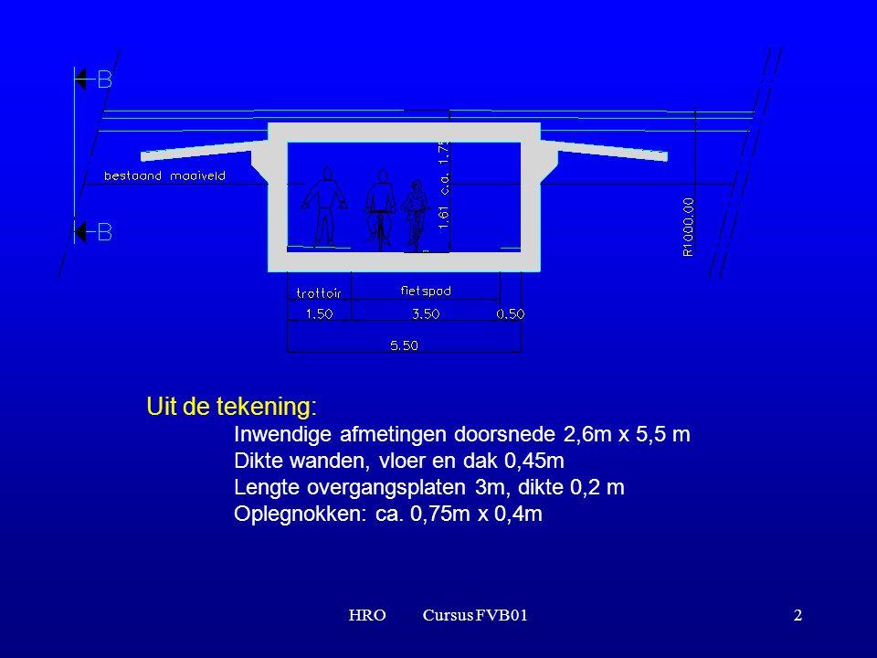 HRO Cursus FVB012 Uit de tekening: Inwendige afmetingen doorsnede 2,6m x 5,5 m Dikte wanden, vloer en dak 0,45m Lengte overgangsplaten 3m, dikte 0,2 m