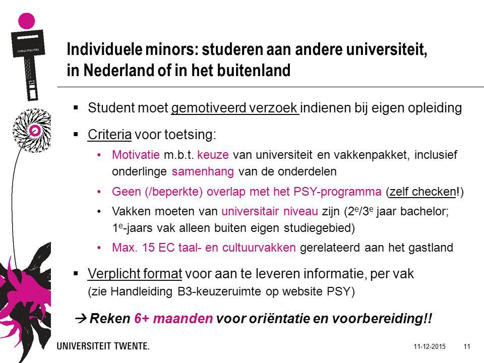 11-12-2015 11 Individuele minors: studeren aan andere universiteit, in Nederland of in het buitenland  Student moet gemotiveerd verzoek indienen bij eigen opleiding  Criteria voor toetsing: Motivatie m.b.t.