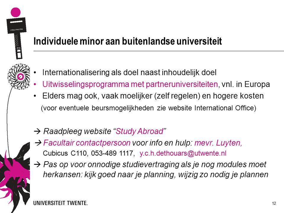 12 Individuele minor aan buitenlandse universiteit Internationalisering als doel naast inhoudelijk doel Uitwisselingsprogramma met partneruniversiteiten, vnl.