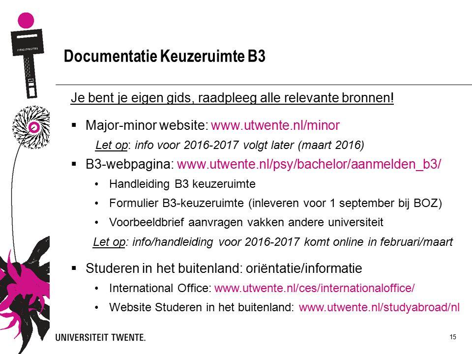15 Documentatie Keuzeruimte B3 Je bent je eigen gids, raadpleeg alle relevante bronnen.