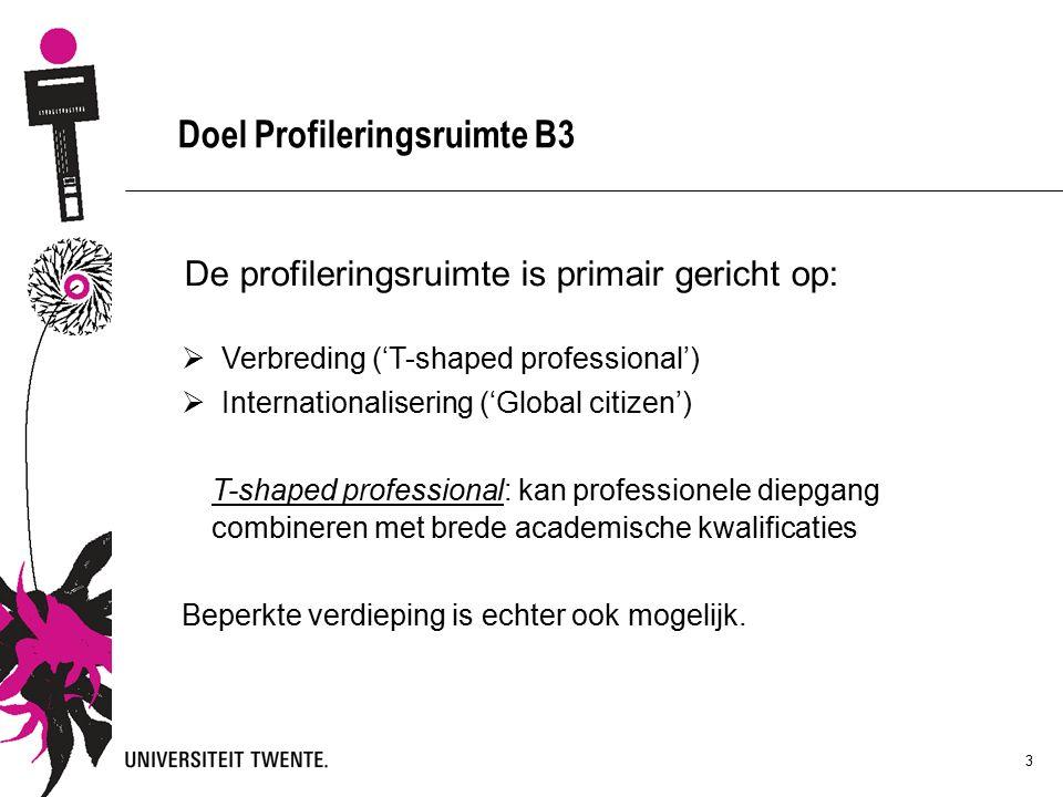 3 Doel Profileringsruimte B3 De profileringsruimte is primair gericht op:  Verbreding ('T-shaped professional')  Internationalisering ('Global citizen') T-shaped professional: kan professionele diepgang combineren met brede academische kwalificaties Beperkte verdieping is echter ook mogelijk.