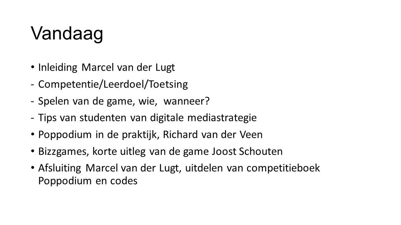 Vandaag Inleiding Marcel van der Lugt -Competentie/Leerdoel/Toetsing -Spelen van de game, wie, wanneer? -Tips van studenten van digitale mediastrategi