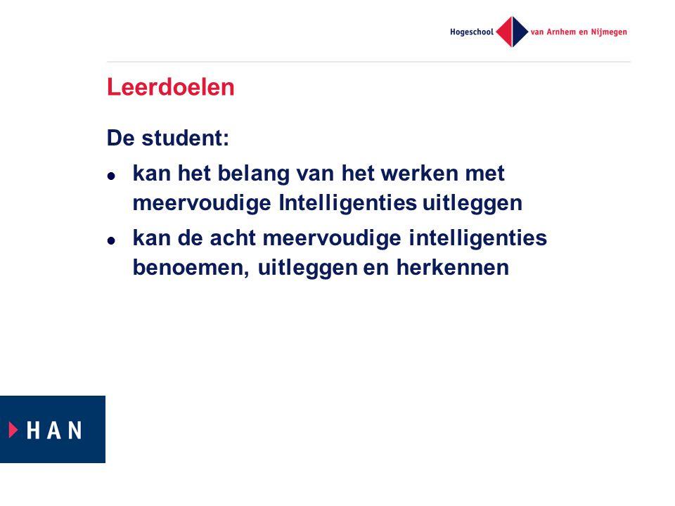 Leerdoelen De student: kan het belang van het werken met meervoudige Intelligenties uitleggen kan de acht meervoudige intelligenties benoemen, uitleggen en herkennen