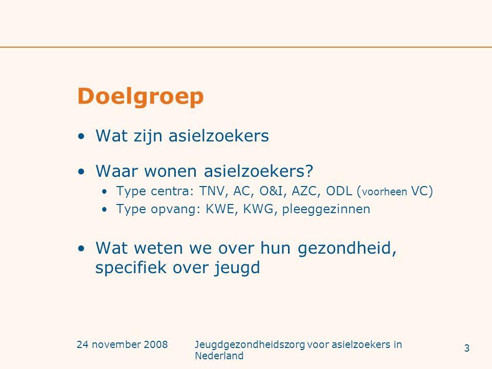 24 november 2008Jeugdgezondheidszorg voor asielzoekers in Nederland Doelgroep Wat zijn asielzoekers Waar wonen asielzoekers? Type centra: TNV, AC, O&I