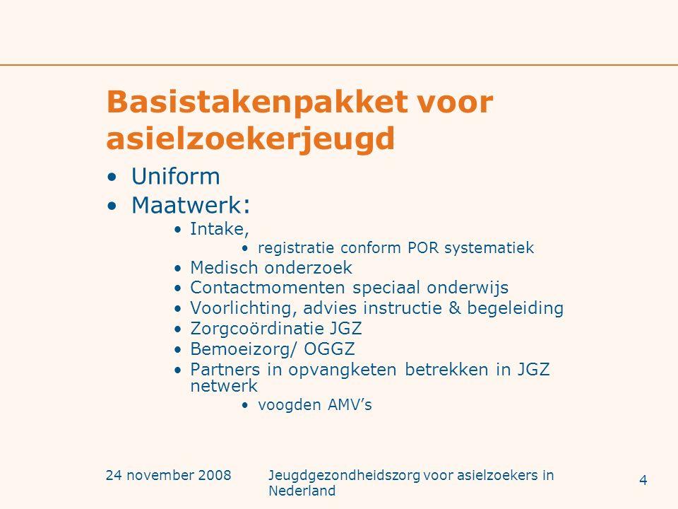 24 november 2008Jeugdgezondheidszorg voor asielzoekers in Nederland Basistakenpakket voor asielzoekerjeugd Uniform Maatwerk : Intake, registratie conf
