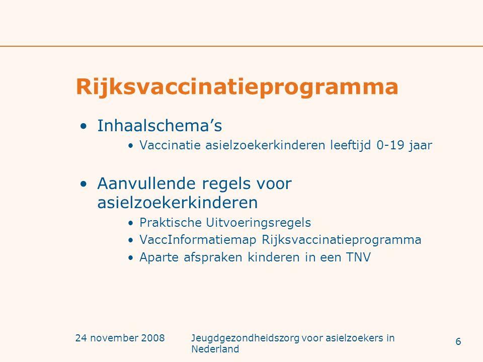 24 november 2008Jeugdgezondheidszorg voor asielzoekers in Nederland Rijksvaccinatieprogramma Inhaalschema's Vaccinatie asielzoekerkinderen leeftijd 0-