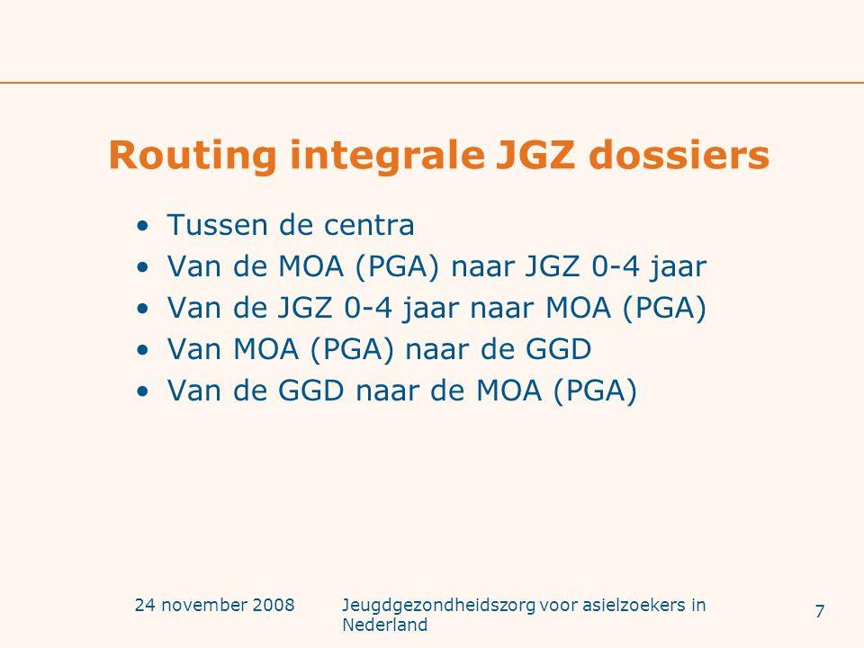 24 november 2008Jeugdgezondheidszorg voor asielzoekers in Nederland Routing integrale JGZ dossiers Tussen de centra Van de MOA (PGA) naar JGZ 0-4 jaar