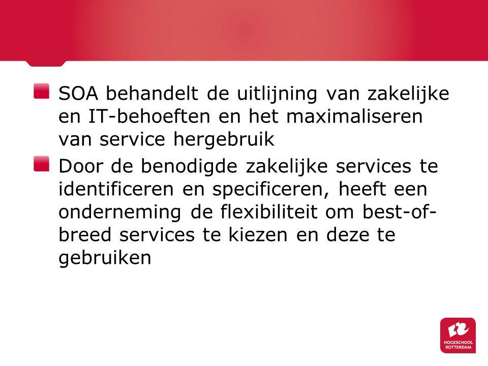 SOA behandelt de uitlijning van zakelijke en IT-behoeften en het maximaliseren van service hergebruik Door de benodigde zakelijke services te identificeren en specificeren, heeft een onderneming de flexibiliteit om best-of- breed services te kiezen en deze te gebruiken