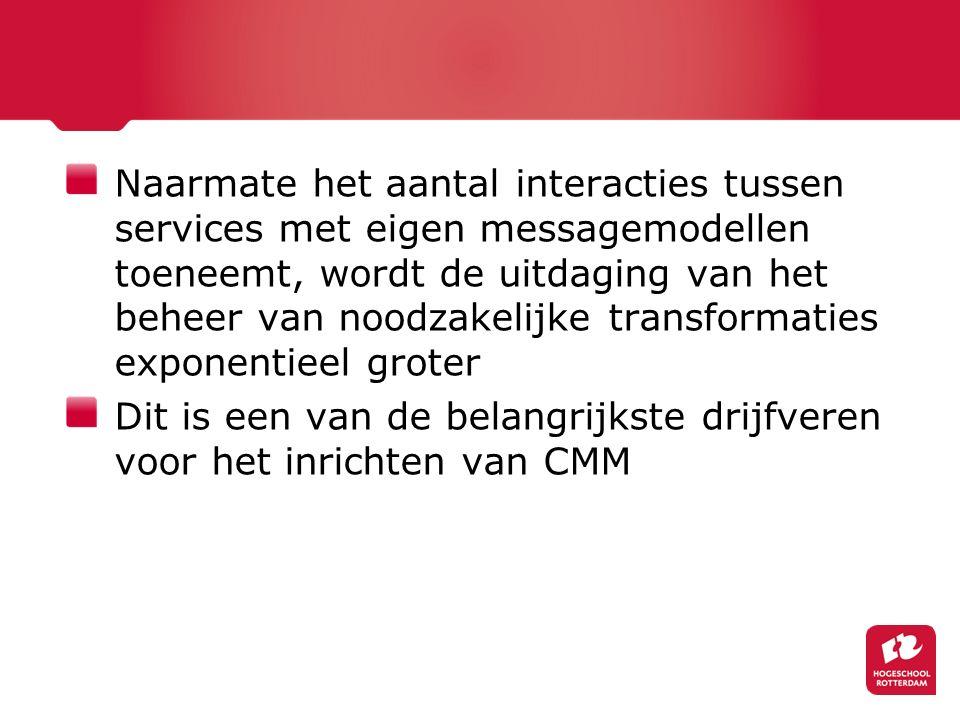 Naarmate het aantal interacties tussen services met eigen messagemodellen toeneemt, wordt de uitdaging van het beheer van noodzakelijke transformaties exponentieel groter Dit is een van de belangrijkste drijfveren voor het inrichten van CMM