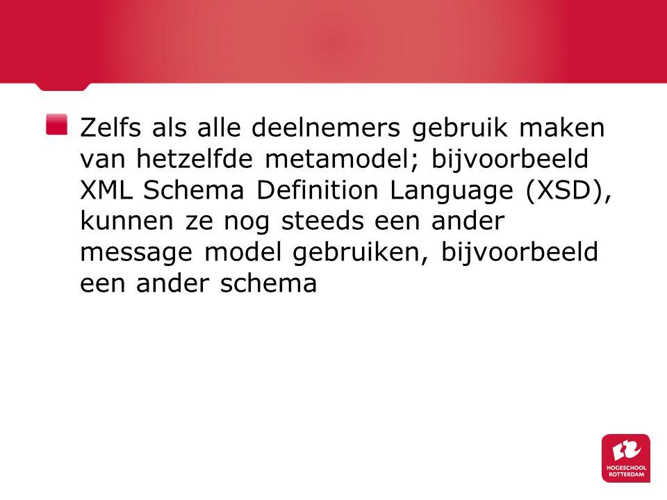 Zelfs als alle deelnemers gebruik maken van hetzelfde metamodel; bijvoorbeeld XML Schema Definition Language (XSD), kunnen ze nog steeds een ander message model gebruiken, bijvoorbeeld een ander schema