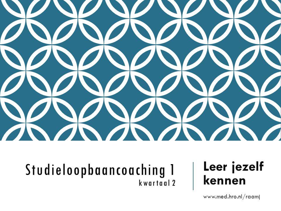 Studieloopbaancoaching 1 kwartaal 2 Leer jezelf kennen www.med.hro.nl/raamj