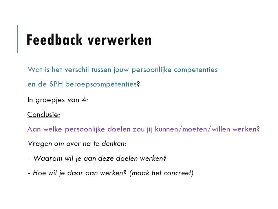 Feedback verwerken Wat is het verschil tussen jouw persoonlijke competenties en de SPH beroepscompetenties.