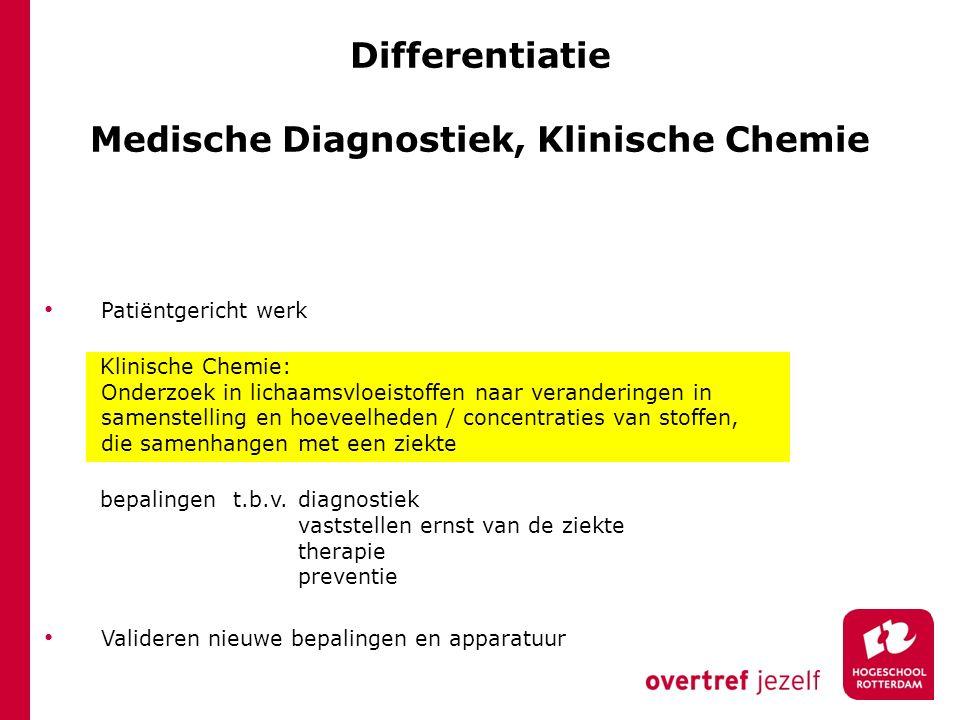 Differentiatie Medische Diagnostiek, Klinische Chemie Patiëntgericht werk Klinische Chemie: Onderzoek in lichaamsvloeistoffen naar veranderingen in sa