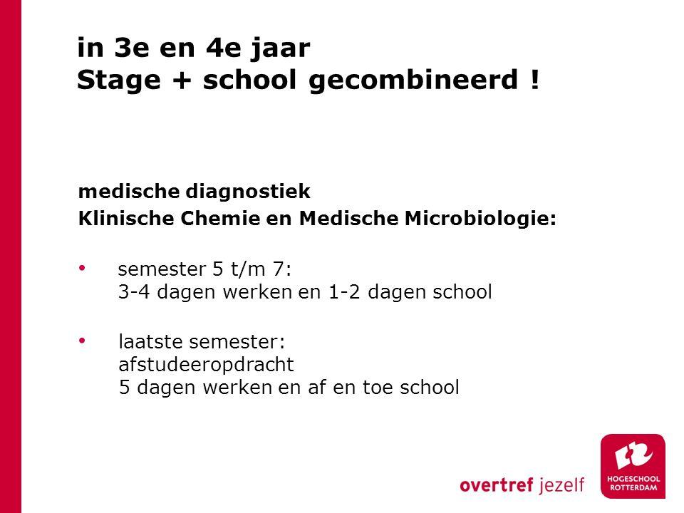 in 3e en 4e jaar Stage + school gecombineerd ! medische diagnostiek Klinische Chemie en Medische Microbiologie: semester 5 t/m 7: 3-4 dagen werken en