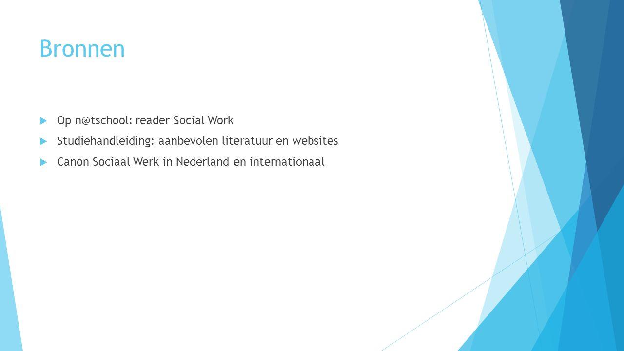 Bronnen  Op n@tschool: reader Social Work  Studiehandleiding: aanbevolen literatuur en websites  Canon Sociaal Werk in Nederland en internationaal