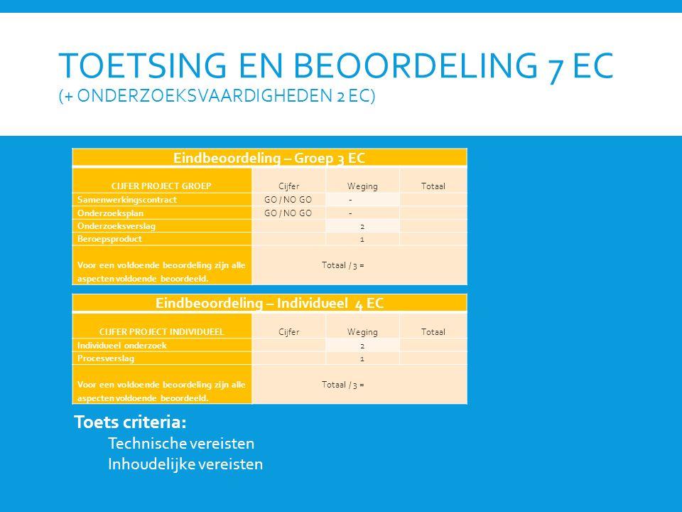 TOETSING EN BEOORDELING 7 EC (+ ONDERZOEKSVAARDIGHEDEN 2 EC) Eindbeoordeling – Groep 3 EC CIJFER PROJECT GROEP Cijfer Weging Totaal SamenwerkingscontractGO / NO GO - OnderzoeksplanGO / NO GO - Onderzoeksverslag 2 Beroepsproduct 1 Voor een voldoende beoordeling zijn alle aspecten voldoende beoordeeld.