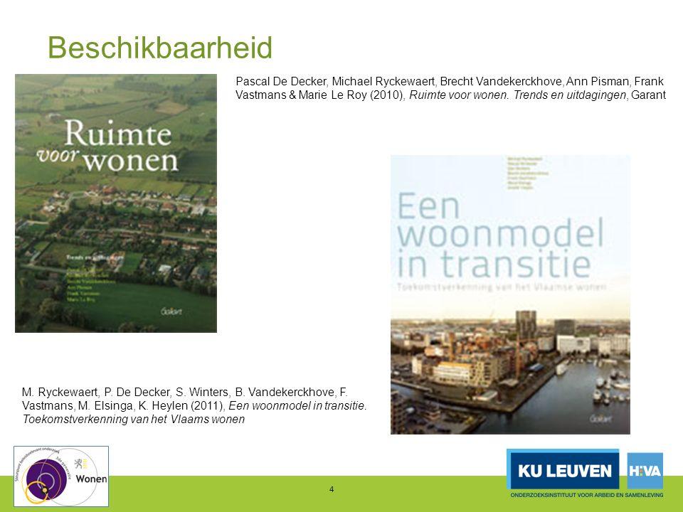 Betaalbaarheid 5 Aandeel huishoudens met woonquote >30%, in %, Vlaams Gewest, 2005, 2013 Bron: Heylen (2015), op basis van Grote Woononderzoek 2013 en Woonsurvey 2005