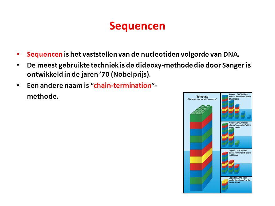 Sequencen Sequencen is het vaststellen van de nucleotiden volgorde van DNA. De meest gebruikte techniek is de dideoxy-methode die door Sanger is ontwi