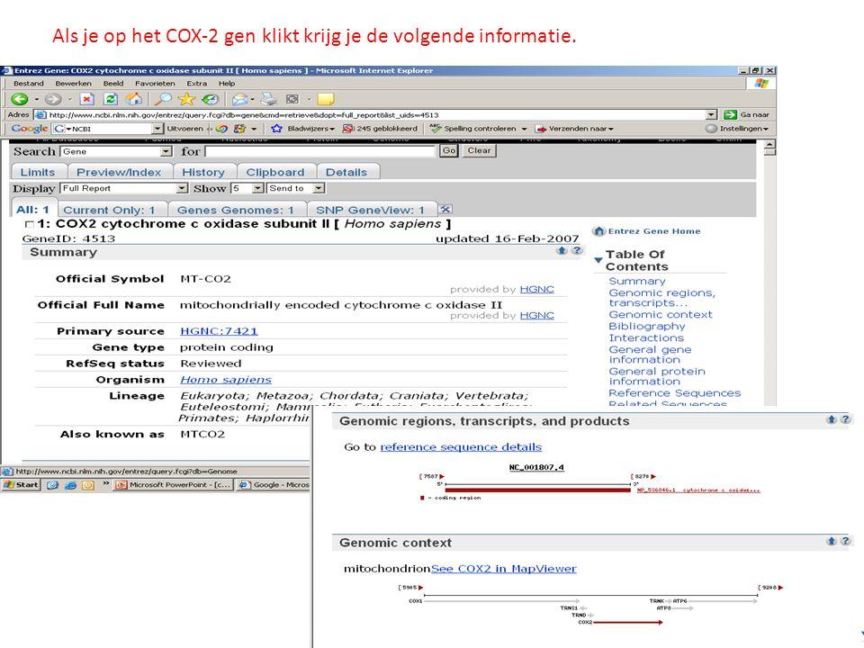 Als je op het COX-2 gen klikt krijg je de volgende informatie.